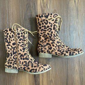 Tan brown black leopard print lace up combat boots